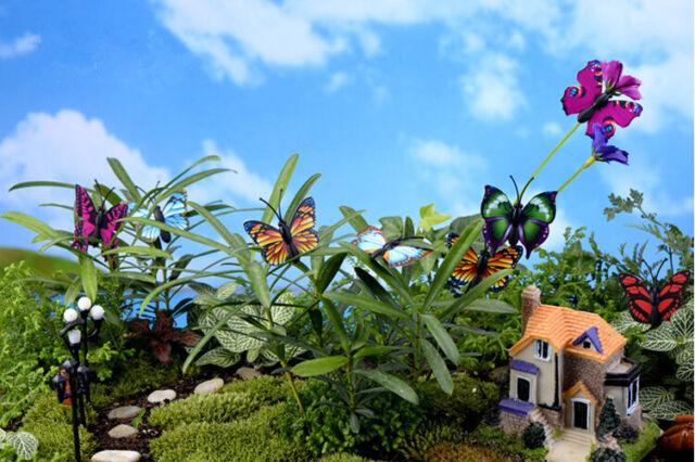 2pcs butterfly Miniature Fairy Garden Ornament Dollhouse Plant  DIY Craft