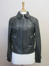 NEXT SIZE 14 GREEN GENUINE BUTTER SOFT LEATHER BOMBER STYLE ZIP JACKET X57