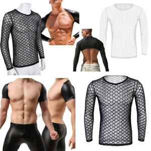 Fishnet-Clubwear-T-shirt-Blouse-Mesh-Casual-Long-Sleeve-Sexy-Tee-Men-Tops-Blouse