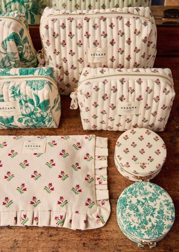 Sezane Tulips Floral Quilted Wash Bag And Makeup Bag Set Organic Cotton