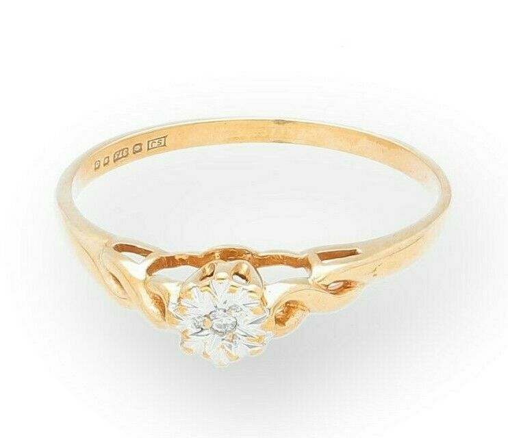 9Carat Yellow gold 0.02ct Diamond Illusion Set Solitaire Ring (Size N) 4mm Wide
