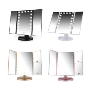 Image Is Loading Tri Fold 21 LED Vanity Mirror Touch Screen