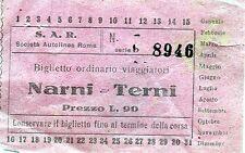 """PUBBLICITA' WERBUNG -1956 """" S.A.R. SOC. AUTOLINEE ROMA- BIGLIETTO NARNI/TERNI"""