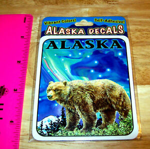 Alaska-Decal-sticker-Grizzly-Bear-amp-Aurora-Northern-Lights-Beautiful