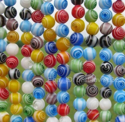 Choose 4MM Wholesale Mixed Round MILLEFIORI Glass BEADS 6MM /& 8MM 10MM 12MM