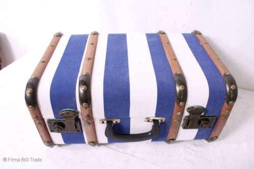 "Holzlatten 3 Größen /""L/"" Vintage blau gestreift Koffer Oldtimerkoffer"