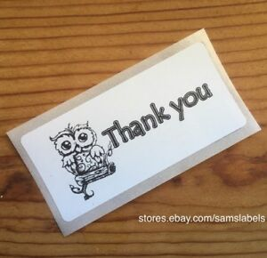 """Thank You For Your Purchase Owl Stickers Sales Labels Envelope Seals 1/"""" Round"""