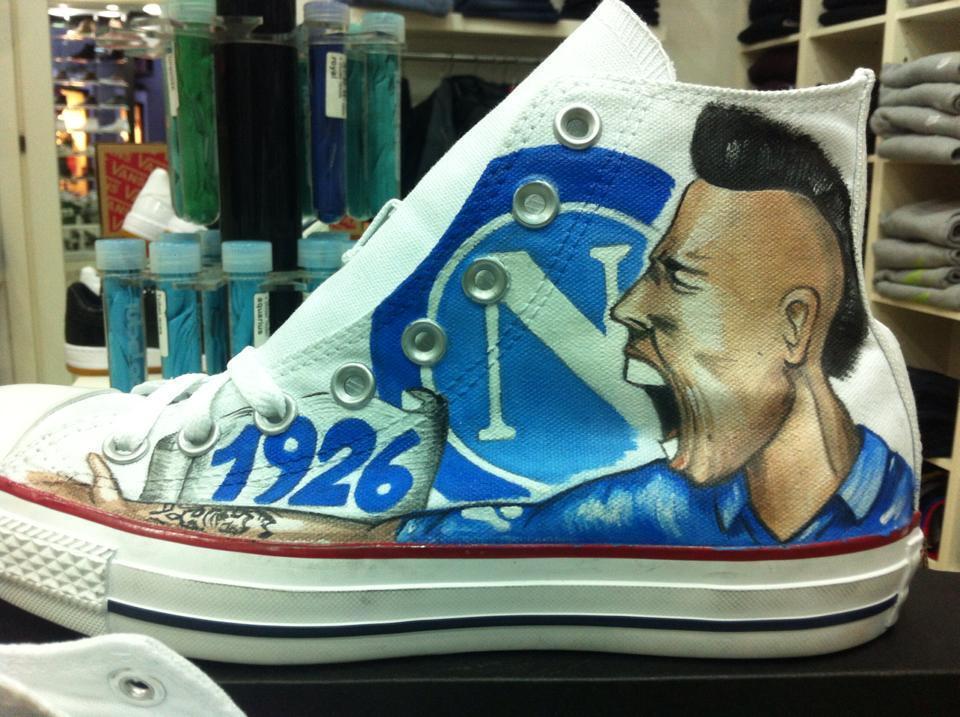 Converse all Star personalizzate disegnate hand made Tifoso del Napoli Hamsik