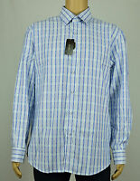 Tasso Elba Mens Blue Grid Classic Fit Long Sleeve Button-up Shirt Xl 17-17 1/2
