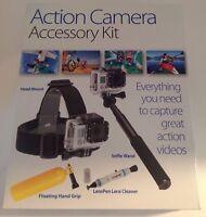 Selfie Wand Sunpak Platinumplus Action Camera Accessory Kit Head Mount Hand Len