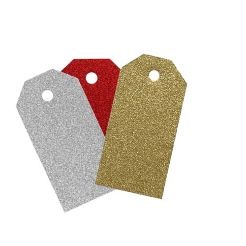 18 Christmas Xmas Gift Tags Glitter Luxury Decoration Craft Pack Silver Gold Red