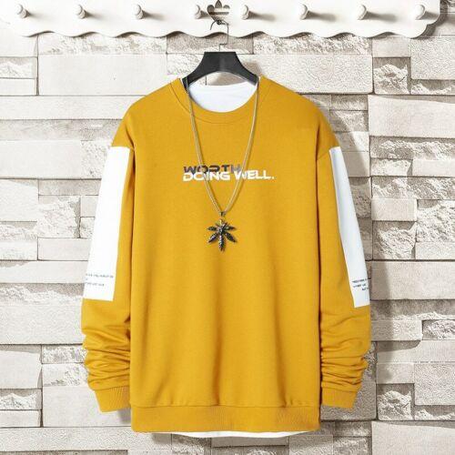 Surdimensionné Crewneck Sweatshirt Men 2020 Printemps Solide Hip Hop japonais streetwear