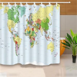 Image Is Loading 180X180cm Polyester World Map Bathroom Bath Waterproof Fabric