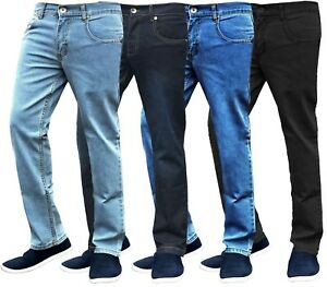 Mens-Slim-Fit-Jeans-Straight-Leg-Basic-Denim-Trouser-Pants-Regular-Short-Long