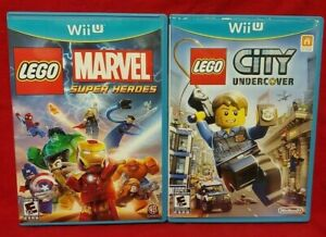 Lego City Undercover + Marvel Heroes  Nintendo Wii U 2 Game Lot Tested 1 Owner
