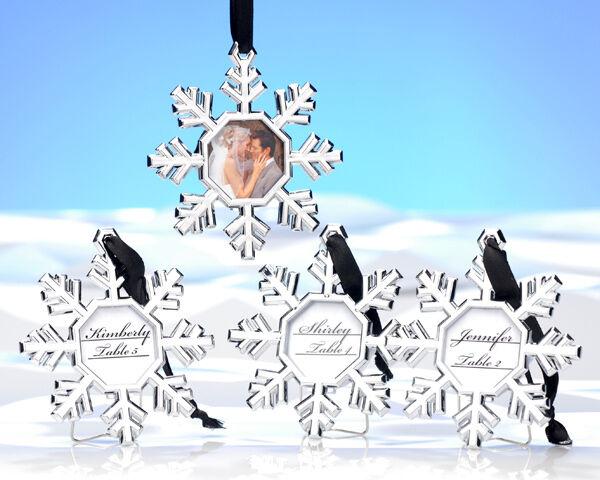 48 flocon de neige Lieu Porte-cartes Ornements Bridal Shower Mariage faveurs