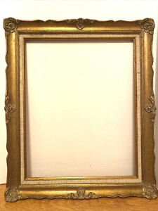 Gilded-Baroque-Style-Picture-Frame-w-Linen-Insert-Fits-Painting-16-x20-Inches
