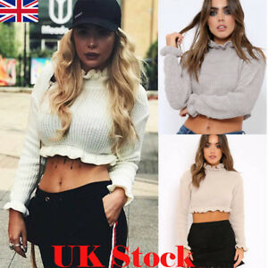Women-Turtleneck-Long-Sleeve-Jumper-Blouse-Ladies-Casual-Frill-Crop-Tops-T-Shirt
