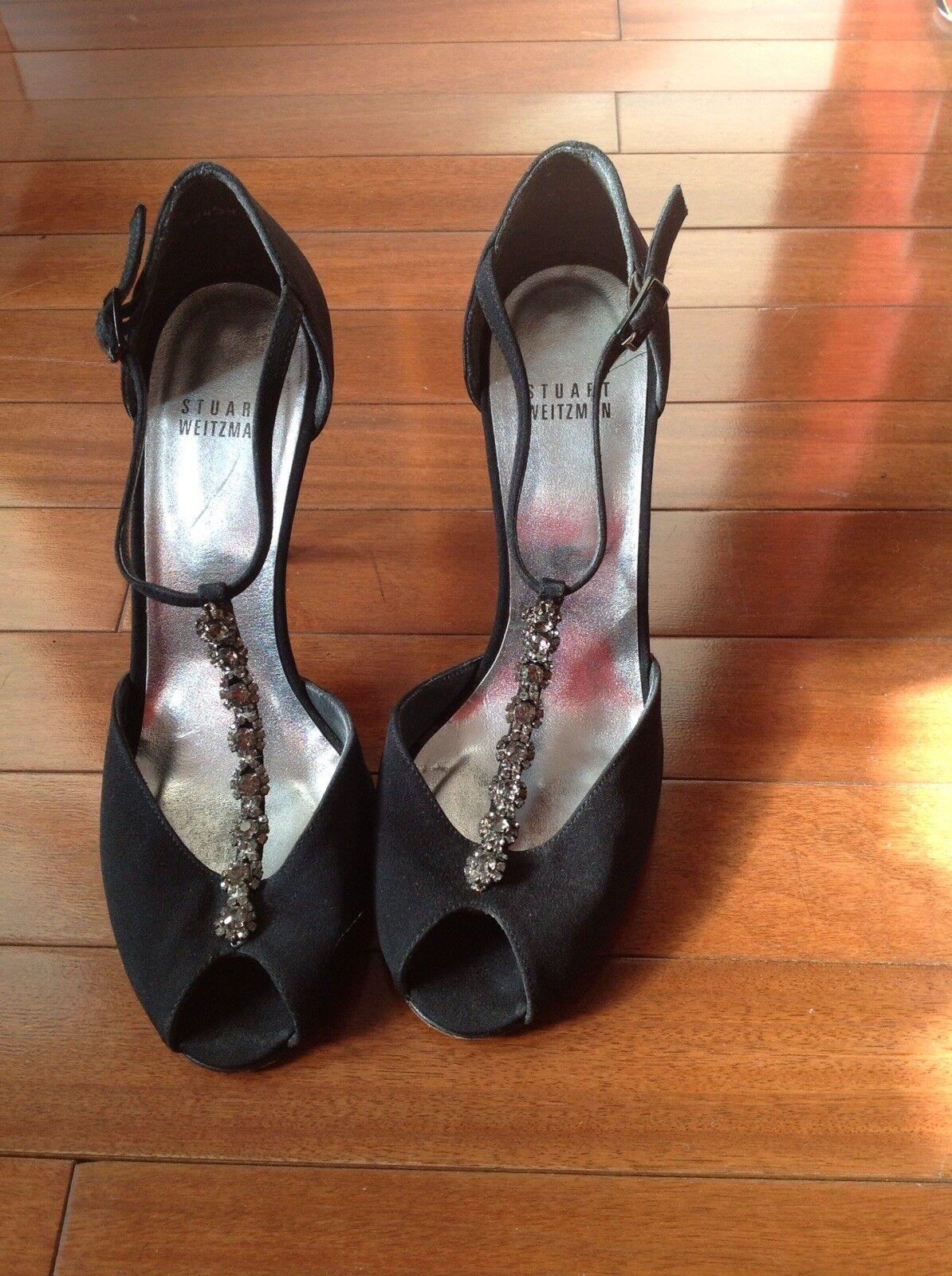 STUART WEITZMAN nero Satin Jeweled Designer EVENING Open Toe Pumps Prom scarpe 7