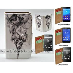 For-Xperia-XZ-Premium-Black-Smoke-Print-Flip-Wallet-Phone-Case-Cover