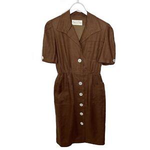 Oscar-de-la-Renta-Union-Made-USA-Vintage-Linen-Button-Front-Dress-Size-12