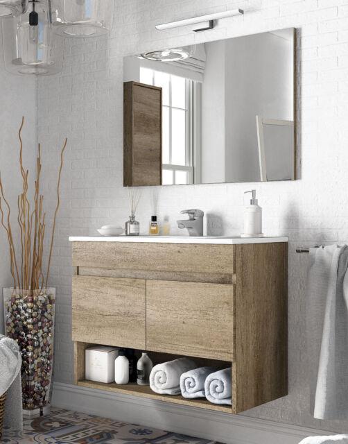 Mueble lavabo baño con espejo y hueco abierto 80x45x64 cm CON LAVAMANOS PMMA