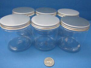 6pk-PET-Plastic-4-oz-Clear-Jars-Silver-Cap-BPA-Free-Cream-Cosmetics-Crafts-Spice