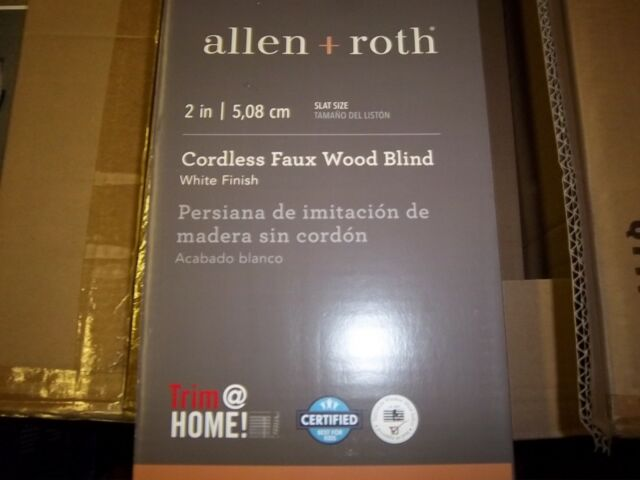 Cordless White Faux Wood Blinds 43x64