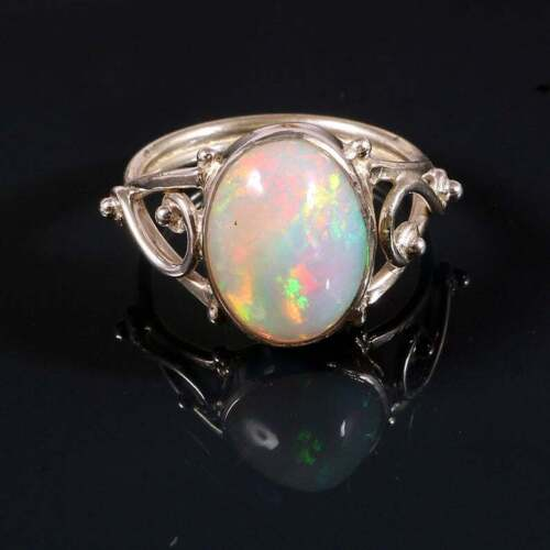 925 sterling silver multi fire birthday natural ethiopian opal ring hot sell
