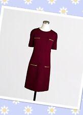 $108 J CREW Sz 2P Maroon Red Zip Pocket Dress Exposed Zipper Career Gold Zipper