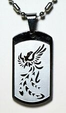 Stainless Steel Dog Tag Pendant Necklace with Phoenix Bird Symbol
