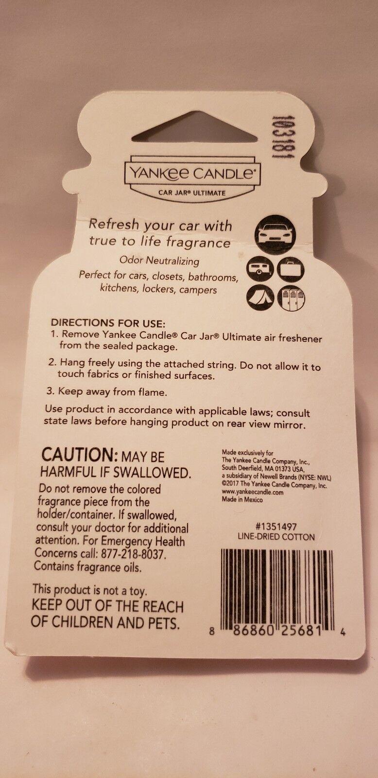 Yankee Candle USA Line Dried Cotton Car Jar