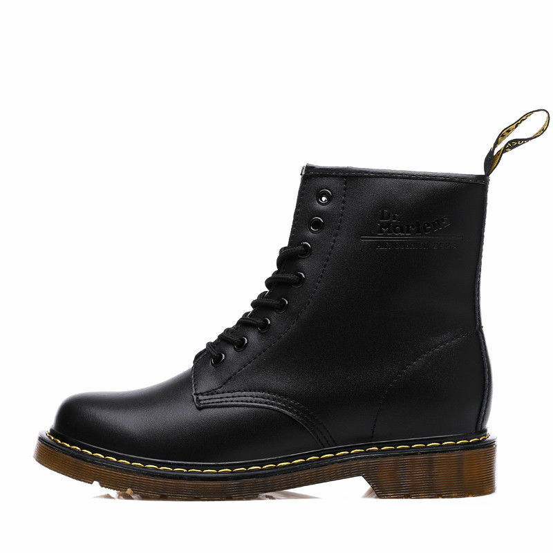 Mens Boots  Leather Women's Winter Ankle Boots shoes Lace Up Short Leather Boot
