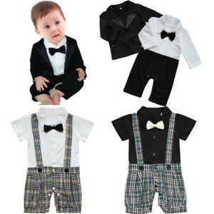 Baby Boy Wedding Formal Party Tuxedo Waistcoat Suit Romper Outfit Clothes Dress