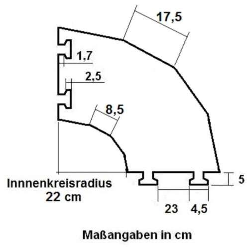2 Stück 45° 2 Kanal ECO Segment Kabelbrücke Bogen Kreisstück Ecke Kabelschutz