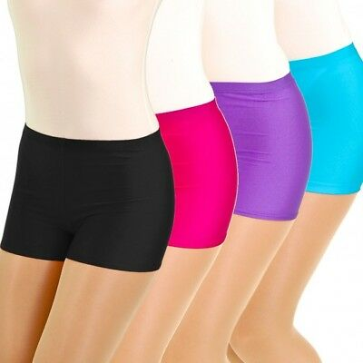 Ladies Womens Gymnastic Cotton Neon Colour Plain Shorts Hot Pants Dance Wear