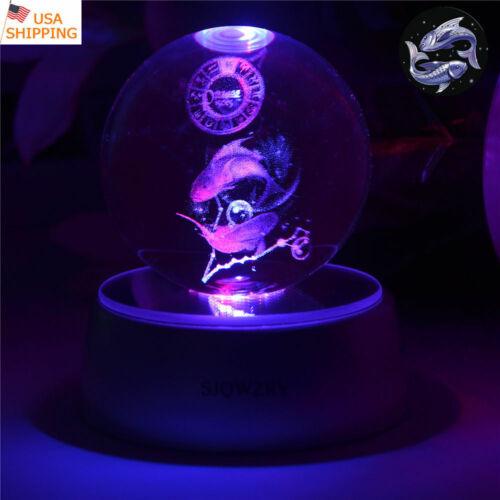 Pisces Constellation 3D LED Crystal Night Light Table Desk Lamp Bedroom Gift