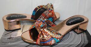 Jeffrey-Campbell-Beaton-B-Rose-Gold-Blue-Print-block-heel-slide-sandals-NEW