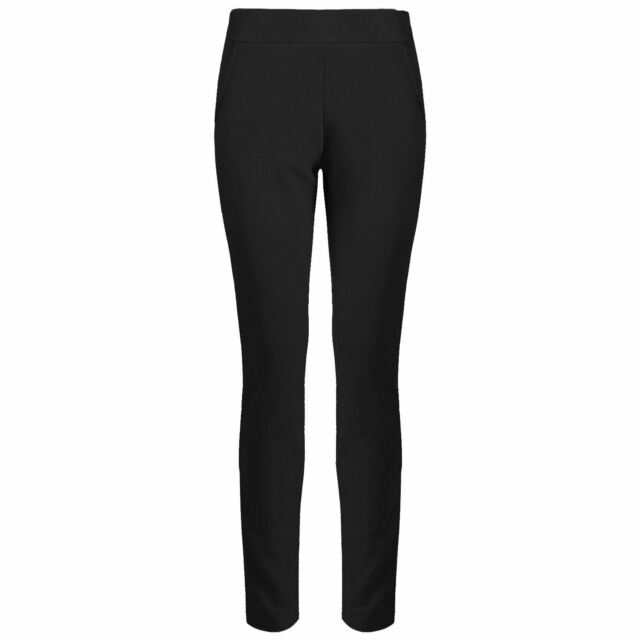 5ad9a9cc84 Womens Ladies Ribbed Trousers Smart Slim Fit Legging Pockets Crepe ...