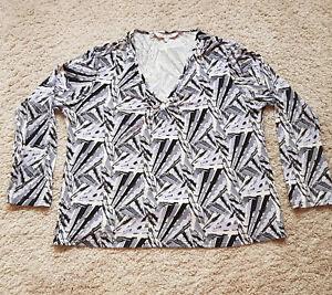 Senoras-EWM-Top-Blusa-Talla-22-24-multicolor-abstracto-impresion-estiramiento-de-manga-larga
