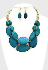 Two Layers Teal Wood wooden Bead Gold Tone Chunky Necklace Earring