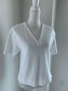 Theory-White-Cotton-Eyelet-Boxy-Cut-Short-Sleeve-Top-Blouse-SZ-M