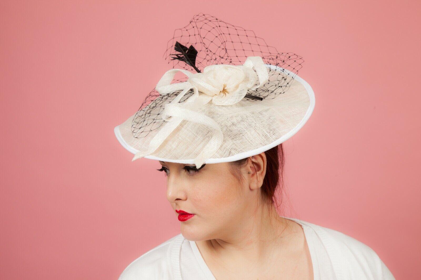 Oversized white & black feathered arrow tulle rose flower headband fascinator