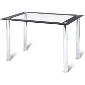 Image Is Loading Modern Dining Table Tempered Glass Top Steel Frame