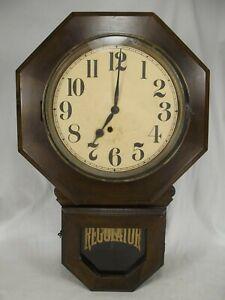 Antique-INGRAHAM-School-House-Regulator-Wall-Clock-OLD-wind-LARGE-FACE-Bristol