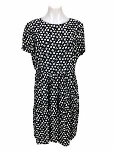J. Crew Navy Blue Short Sleeve Tiered Dress in Blurred Floral Women's 12
