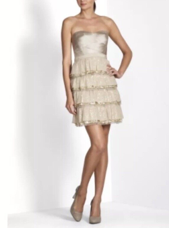 BCBGMaxazria Tiered Pleated Dress Petites Size 8P Brown Strapless Pleated N7