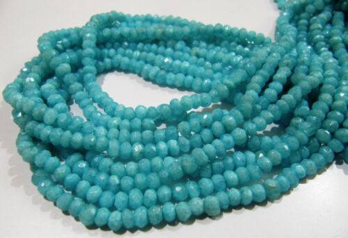 Natural Blue Opal Rondelle Faceted Beads 4-5mm Strand 13inch Semi Precious Beads