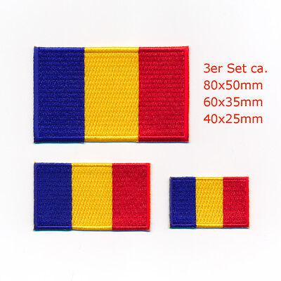 3 Republik Tschad Flaggen N'djamena Flags Patch Aufnäher Aufbügler Set 5000