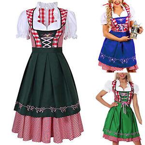 Dirndl-Trachtenkleid-2Tlg-Oktoberfest-Gr-34-bis-42-Damen-Bluse-Schuerze-Kleid